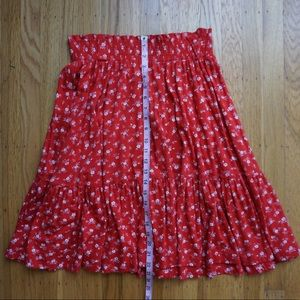 Vintage Red Peasant Skirt White Flowers USA Made